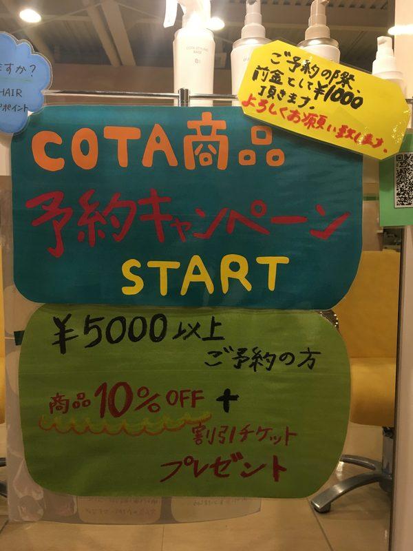 コタ商品予約キャンペーン開始!